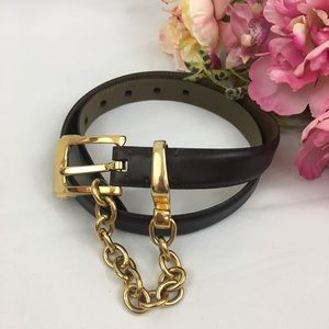 DKNY Brown Gold Chain Buckle Belt S